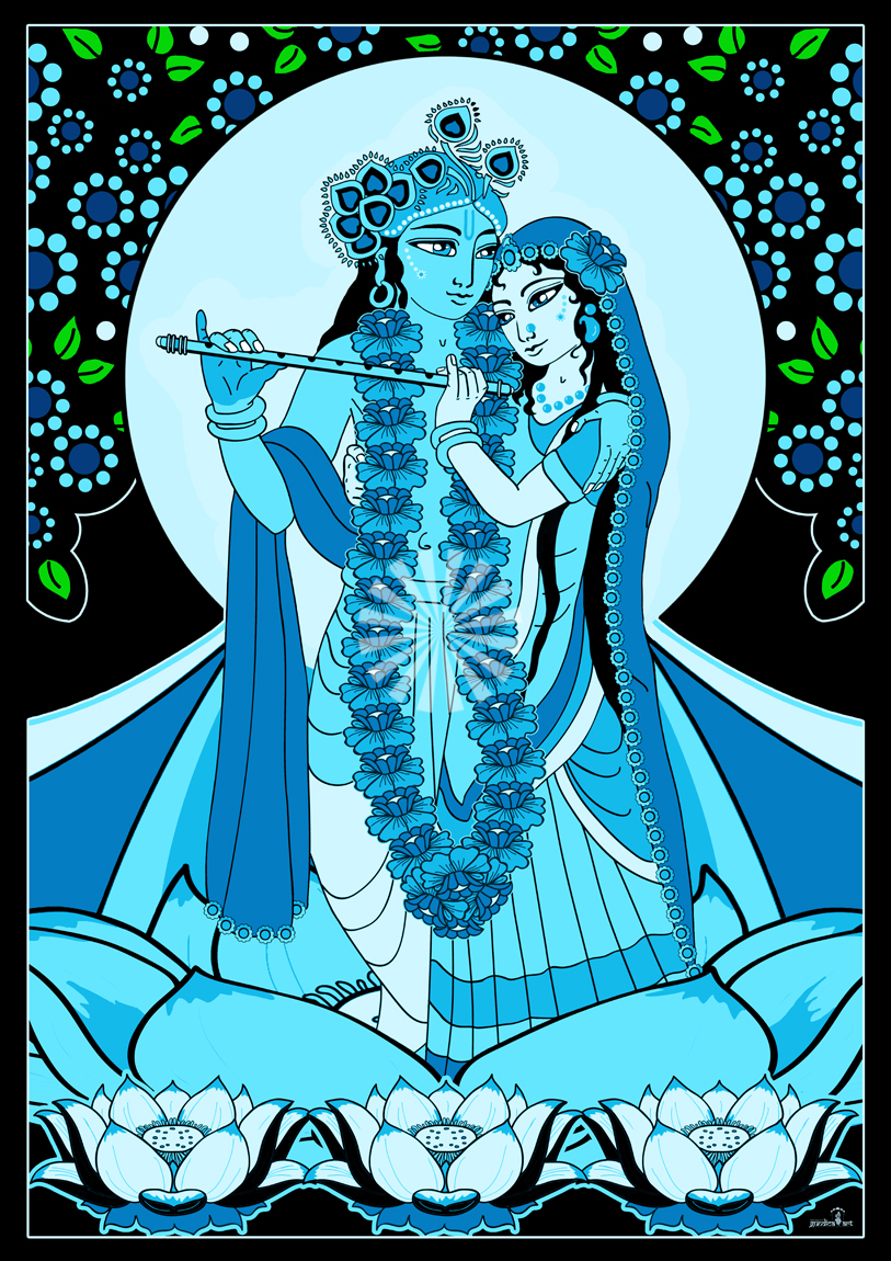 Sri Radha Krishna On A Lotus Flower Blue Govinda Market